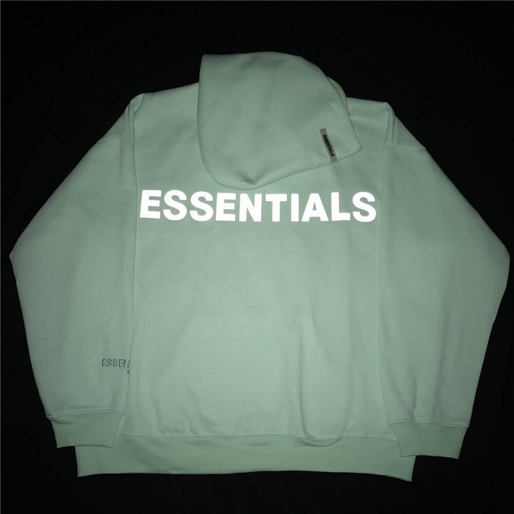 Reflective/Embroidered Logo Fleece Hoodies Hip Hop Relaxed Fit Raglan Sweatshirt Kanye Unisex Streetwear