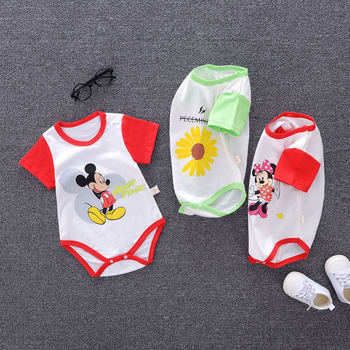 Newborn Cotton Baby Boy Girl Romper Cartoon Mickey Mouse Short Sleeve Jumpsuit Toddler One Piece Summer Kid Clothes Bebes Outfit 2017 newborn summer rompers cute deer roupa de bebes baby girl boy jumpsuit floral romper infantil outfit clothes coveralls