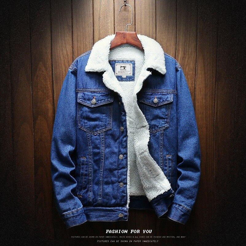 Winter Jeans Coat Men's Brushed And Thick Lambs Wool Cowboy Clothing Jacket Dark Blue Plus Velvet Cowboy Jacket