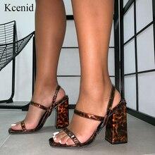 Kcenid nova chegada 2020 leopardo voltar elástico cinta sandálias femininas praça de salto alto verão sexy dedo do pé aberto deslizamento em sapatos festa