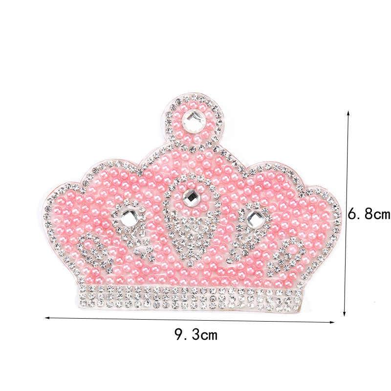 7 X 5 CM 1 parche de cristales de estr/ás con dise/ño de corona de diamantes de imitaci/ón para planchar o para ropa de beb/é reci/én nacido