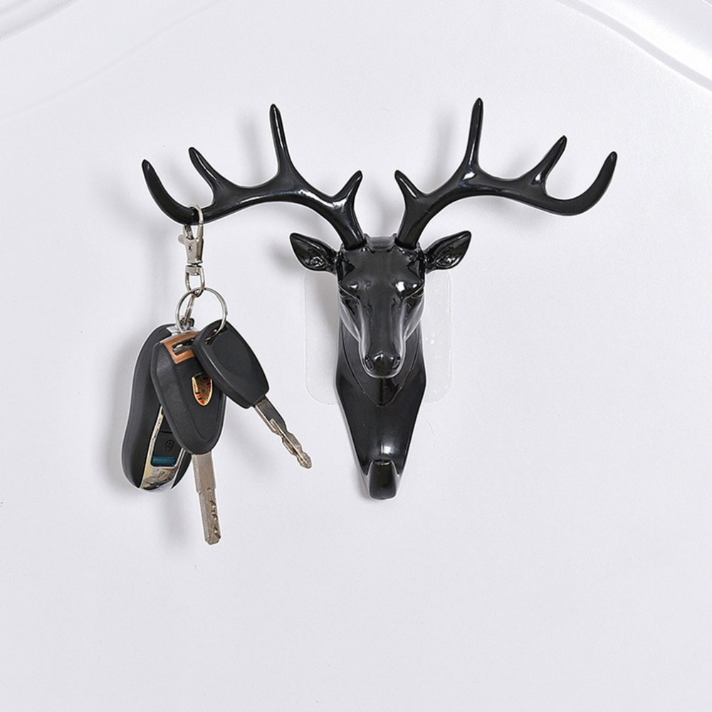 Wall Hanging Hook Vintage Deer Head Antlers For Hanging Clothes Hat Scarf Key Deer Horns Hanger Rack Wall Decoration