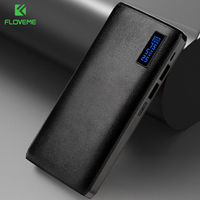 FLOVEME Power Bank 20000mAh Mobile External Battery  For Xiaomi MI Mini Power Bank 15000mAh LED Leather Texture Portable Charger