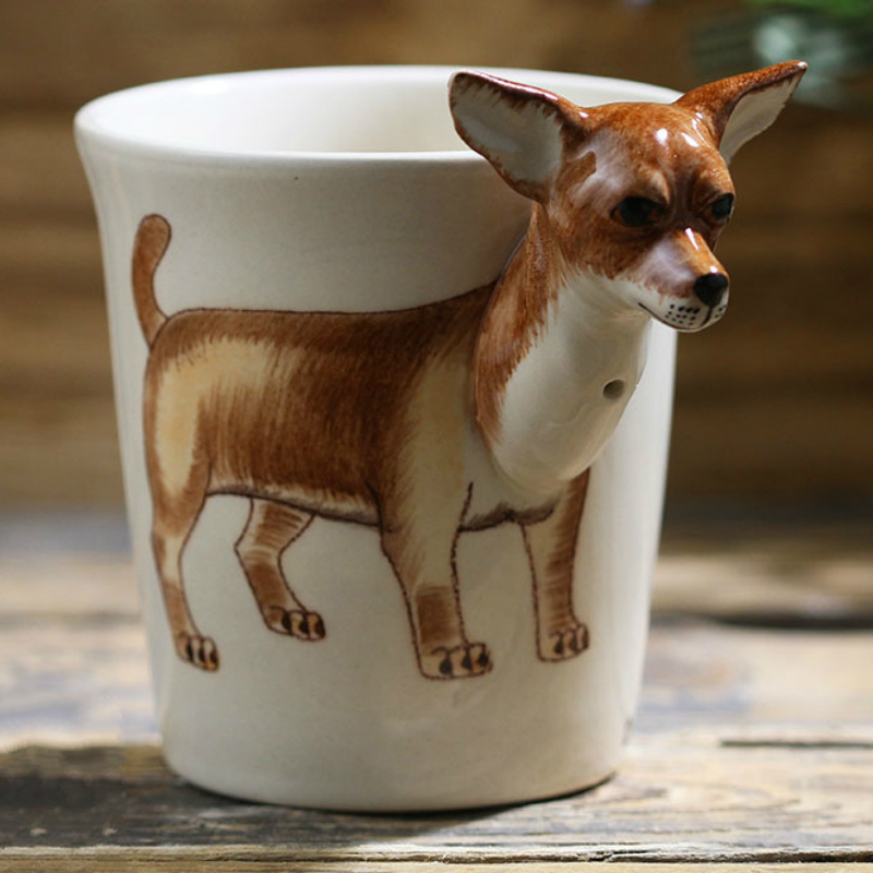 2020 new creative animal Chihuahua ceramic cup hand painted cartoon coffee cup creative gift cup with handle personalized gift