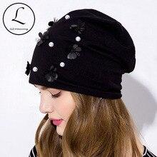 GZhilovingL Women Pearls Flower Hats Soft Spring Thin Slouch Skullies B