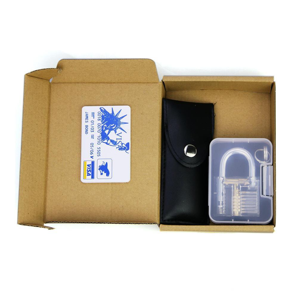 Free Shipping 12pcs Set Stainless Steel Lock Picks Locksmith Tools + 1pcs Transparent Padlock + 1 Set Credit Card Lock Pick Set