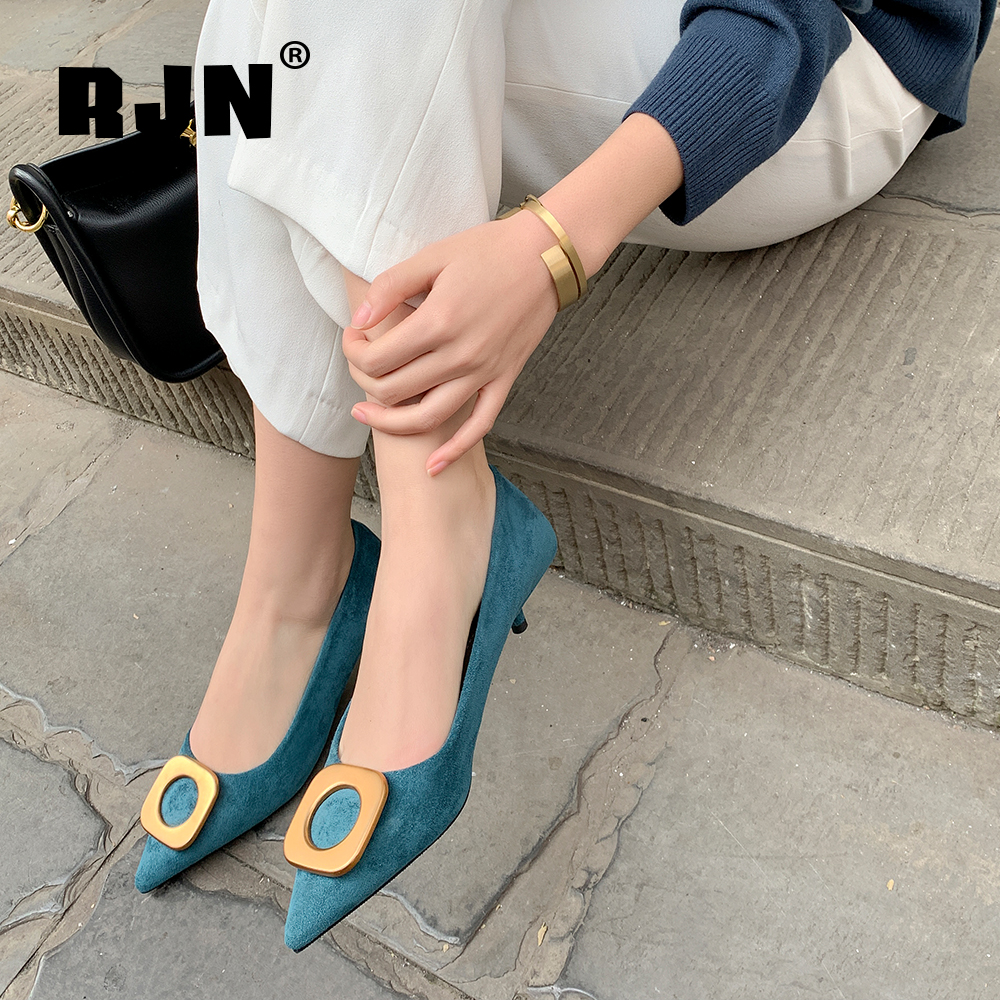 RJN Office Pumps Women High Quality Kid Suede Fashion Pointed Toe Pumps Slip-On 4cm Thin Heels Shallow Comfortable Shoes RO104