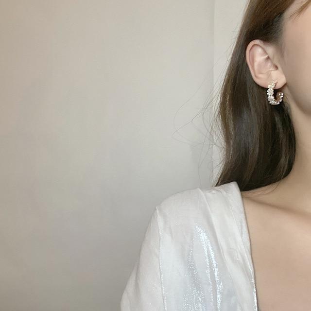 S925 agulha flor brincos moda jóias chapeamento de ouro branco resina hoop brincos feminino jóias menina estudante presentes para festa 2