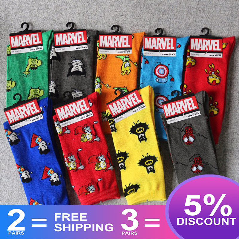 Marvel Comics Hero General Socks Cartoon Iron Man Captain America Knee-High Warm Stitching Pattern Antiskid Casual Sock S-8