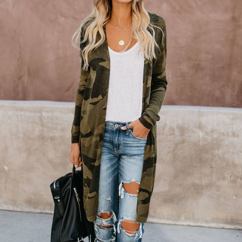 Coat 2019 Top New Womens Ladies Long Cardigan Camouflage Long Sleeve Coat Parka Outerwear For Women Fashion Clothes
