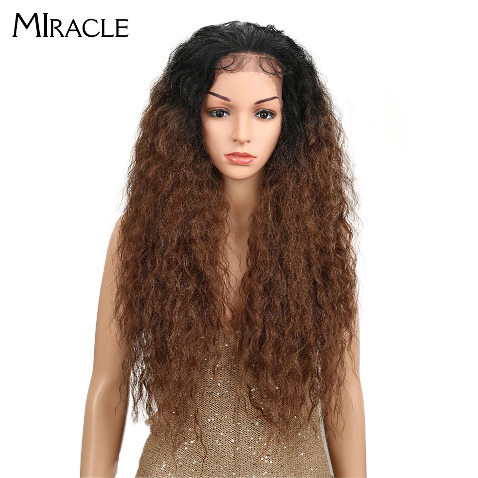 Miracle High Temperature Fiber Free Part Long Ombre Natural Wave Lace Front Baby Hair Wigs Synthetic Afro Wigs For Black Women
