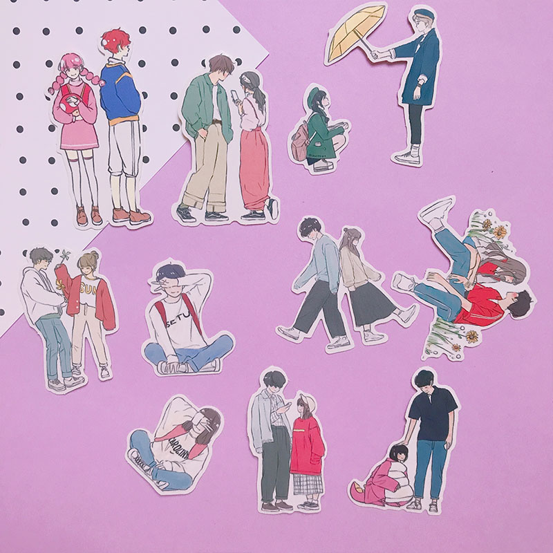 22PCS Lovely Couple Life  Stickers Crafts And Scrapbooking Stickers Book Student Label Decorative Sticker Kids Toys