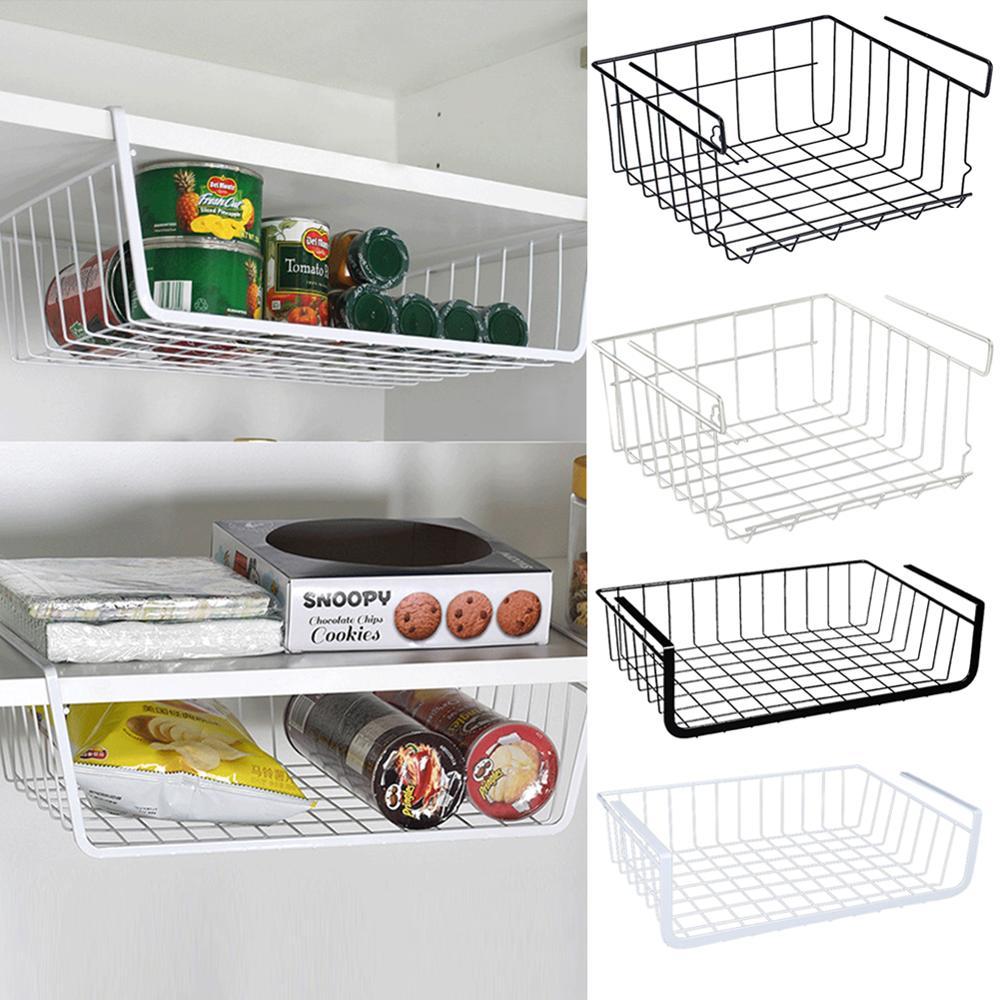 Home Storage Basket Kitchen Multifunctional Storage Rack Under Cabinet Storage Shelf Basket Wire Rack Organizer Basket