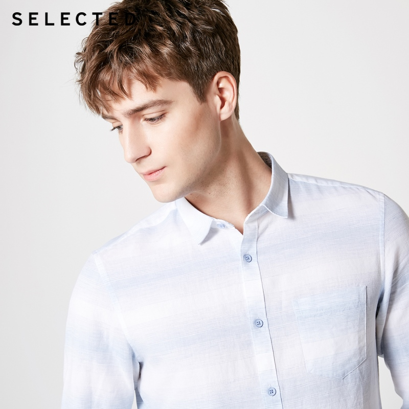 SELECTED Men's Linen Striped Trendy 3/4 Sleeves Casual Cropped Contrast Stitching Shirts S|419231507