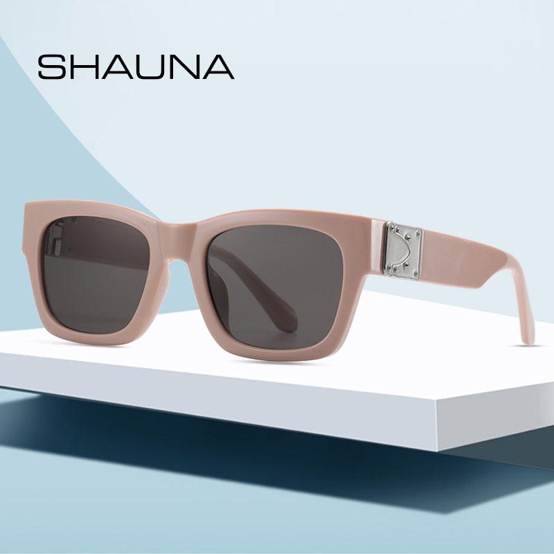 SHAUNA Retro Rectangle Sunglasses