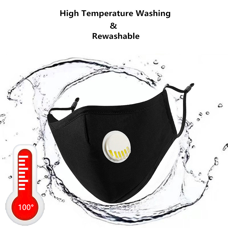 1pc Black Mouth Mask Mask Respirator Mask With Upgrade Breath Valve Men Women Pure Cotton Mask