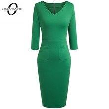 Pencil-Dress Women Wear Bodycon Elegant Solid-Color Work-V-Neck EG683 Back Brief Full-Zipper