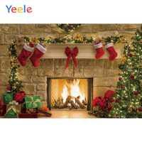 Weihnachten Hintergrund Kamin Baum Winter Schnee Fenster Geschenk Holz Licht Shiny Fotografie Hintergrund Photophone Für Foto Studio
