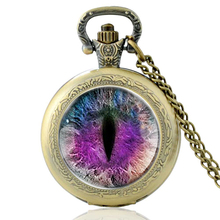 High Quality Vintage Mystic Eye  Glass Dome Quartz Pocket Watch Classic Men Women Necklace Pendant Gifts