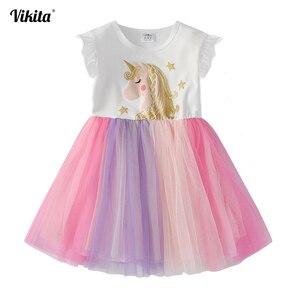 VIKITA Unicorn Dress for Girls Children Cartoon Vestidos Kids Tutu Dresses Toddlers Summer Dress Sleeveless Princess Dresses(China)