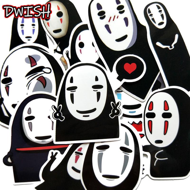 12 PCS Anime Spirited Away Waterproof PVC Sticker Skateboard Motorcycle Suitcase Laptop Guitar Funny Graffiti Stickers Kids Toys
