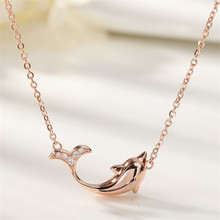 OBEAR New Fashion Silver Plated  Cute Dolphin Statement Necklace Cubic Zirconia Whale Pendant Necklaces