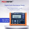 Medidor 0 ohm do verificador da tensão da resistência da terra da terra de digitas a 4 k ohm 100 grupos que registram dados com luz de fundo peakmeter ms2302