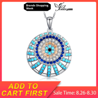 JewelryPalace 925 Sterling Silver Pendants Necklace Blue Nano Simulated Turquoises Spinels Pendant Without Chain Women Jewelry