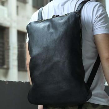 Unisex Casual Backpacks Cool Safe Genuine Leather Travel Bag Black Leather Men's Business Fashion Shoulder Bags Casual Backpack