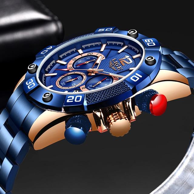 LIGE 2021 New Fashion Blue Mens Watches Top Brand Luxury Clock Sports Chronograph Waterproof Quartz Watch Men Relogio Masculino 2