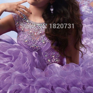 Image 3 - New Light Purple Ball Gown Quinceanera Dresses Scoop Pleats Beaded Rhinetones Sweet 16 Dress For 15 Years Debutante Gown