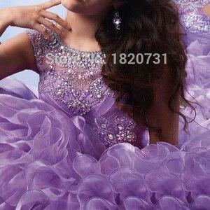 Image 3 - Vestido de baile morado claro para quinceañera, plisado, con cuentas de diamantes de imitación, 16 años