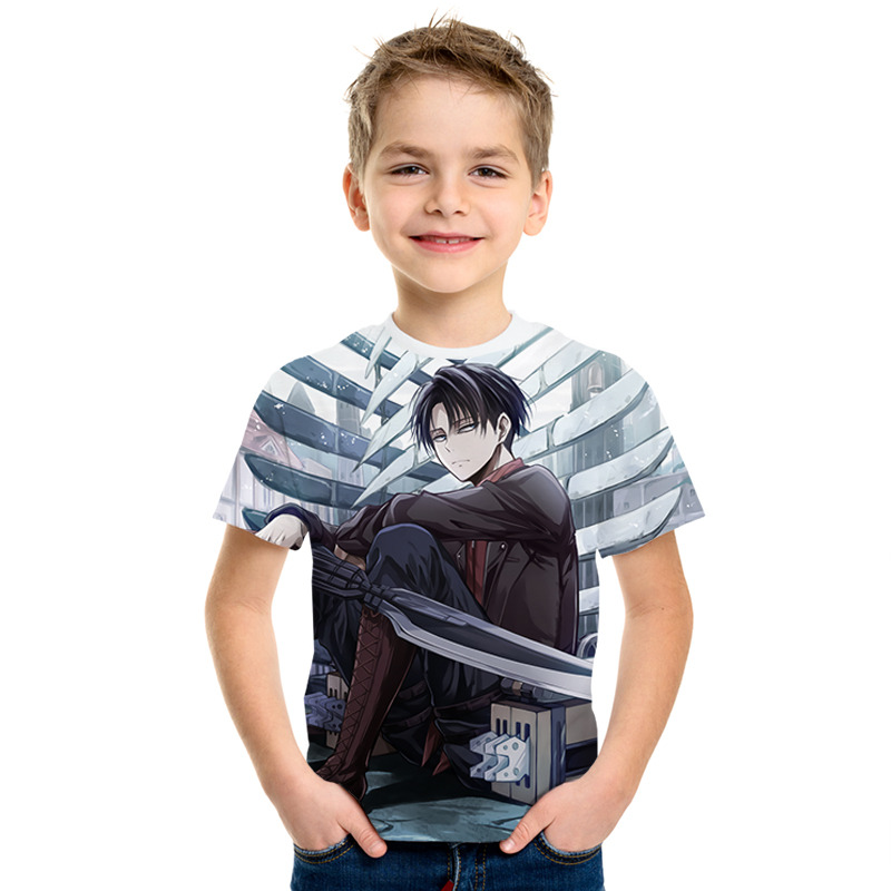 Japanese Anime Attack On Titan 3D Print Boy And Girl Comfortable Fit T-shirt Child Fashion Anime Shirt Short Sleeve Kid Clothing