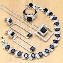 Gümüş 925 gelin takı siyah taş beyaz kristal takı setleri bayan düğün küpe/kolye/kolye/yüzük/bilezik