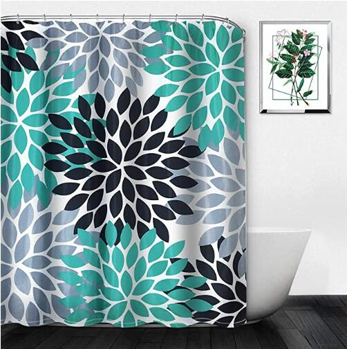 turquoise grey black dahlia flower shower curtains waterproof with hooks set bathroom home for girls boy gifts
