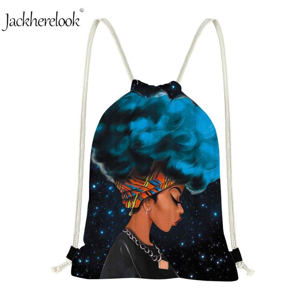 Jackherelook Art African American Black Girl Drawstring Bags Women Afro Hair Beach Casual Backpack Travel Bags Ladies Gympack