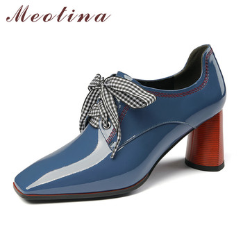 Meotina Autumn High Heels Women Pumps Genuine Leather Strange Style High Heel Shoes Cow Patent Leather Square Toe Shoes Lady 39