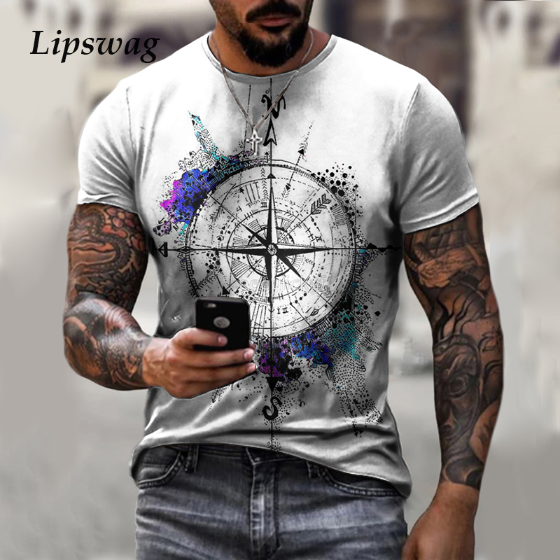 Vintage Print Short Sleeve T-Shirts For Men Casual O-Neck Tee Shirt Casual Male Plus Size Tops 2021 Summer Fashion Mens Clothing