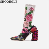 New 2019 Women's Autumn Winter Boots Rose Prints Stretch Fabric Mid calf Boots Women Rhinestone Chunky Heel Catwalk Shoes Boats