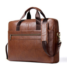 Genuine Leather Man Briefcase For 17.3 Inch Laptop Men's Cro