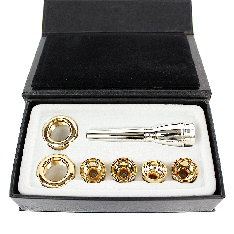 7Pcs/Set Mouthpiece For Bb Trumpet 2C 3C 2B 3B Brass Gold Plated A Multi-Purpose T Adapter Professional Gold Lacquer Nozzle Part