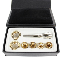 цена на 7Pcs/Set Mouthpiece for Bb Trumpet 2C 3C 2B 3B Brass Gold Plated a Multi-Purpose T Adapter Professional Gold Lacquer Nozzle Part