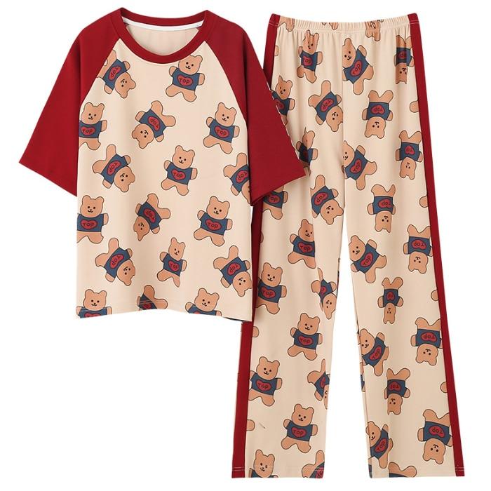 Women Cotton Good Quality Pyjamas Short Sleeve Long Trousers Pijama Casual Comfort Sleepwear
