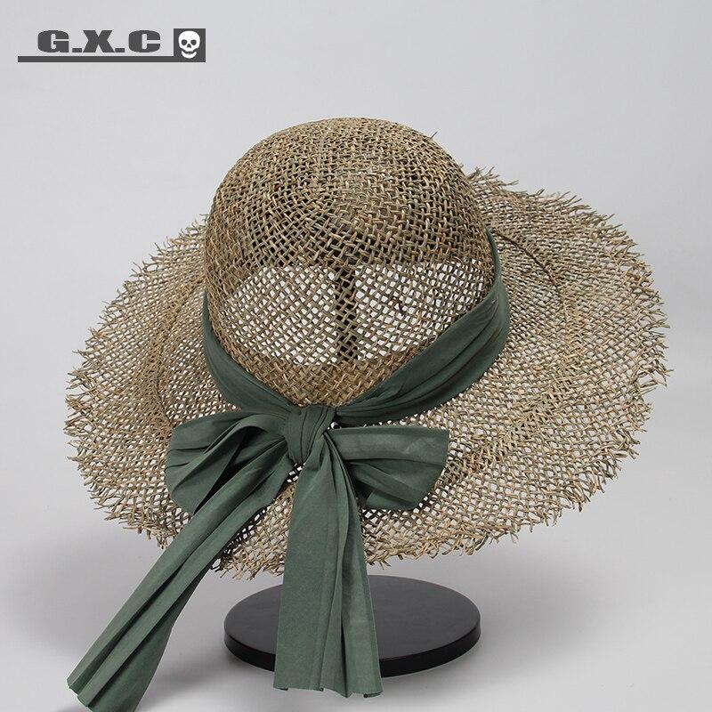 Корейская вязаная соломенная шляпа для женщин, пляжные шляпы для путешествий, женские кепки с бантом, женские летние шляпы с широкими полям
