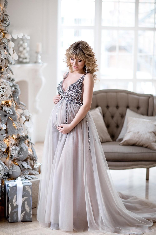 2019 robes de soirée de maternité robes de douche de bébé avec jupe en Tulle a-ligne robe de bal sans manches col en v Tulle Sequin robes de soirée - 2