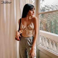 Nibber-Top corto de gasa con cordones en blanco y negro para mujer, camisetas de estilo informal para vacaciones en la playa harajuku 2020