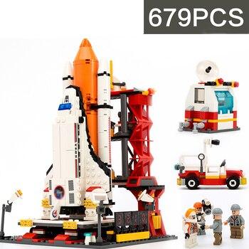 679 Uds espacial el espacio de transporte al centro de lanzamiento de ladrillos modelo Kit de creación educativos lepining de juguetes para los niños