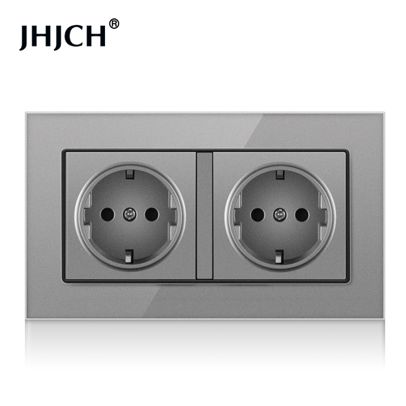 JHJCH European standard wall mounted power socket, crystal glass panel, German standard 2-hole 16A double grounding, 146 * 86mm