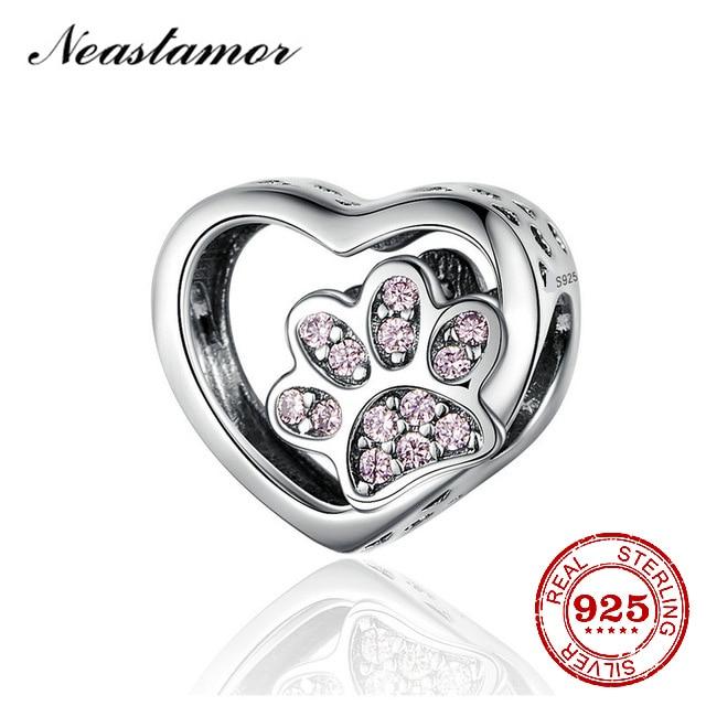 New 925 Sterling Silver Heart Dog Paw Pink Enamel DIY fine beads Fit Original Pandora Charm Bracelet Pendant Silver 925 Jewelry(China)