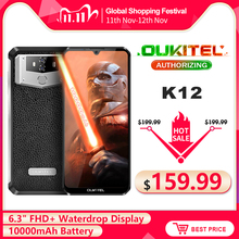 OUKITEL K12 6.3 Waterdrop 1080*2340 6GB 64GB Android 9.0 Smartphone Face ID 10000mAh 5V/6A Charge rapide OTG NFC téléphone portable